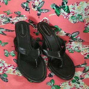 Black Kitten Heel Sandals